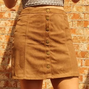 Faux suede brown skirt
